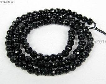 Natural Black Onyx Gemstones 4mm Faceted Round Spacer Loose Beads 15'' Strand for Jewelry Making Crafts
