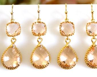 Peach Earrings, Champagne Earrings,Wedding Jewelry Bridesmaid Earrings Dangle Earrings clear white and peach glass drop Earrings
