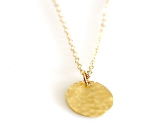 Gold Hammered Disc Necklace - 14K Gold Filled Tiny Dot Necklace - Simple Everyday Circle Textured Disc Necklace - Dainty Modern Minimalist