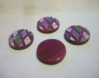 Vintage Parchwork Burgundy Flat Backed Glass Cabochons x 4   # F 6