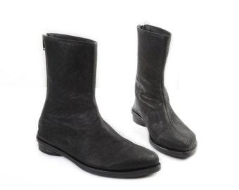 Black mid stitch women boots, Mediume hight Black leather women boots, winter boots, classic black boots