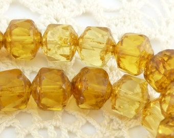 Honey gold Cathedral Czech Glass Beads - 1 Strand