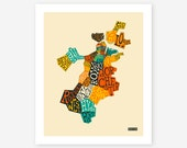 BOSTON NEIGHBORHOODS, Giclee Fine Art Print, Modern, Typographic, Wall Art for your Home Decor