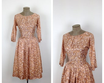 50s Tan Fit and Flare Cocktail Dress • 1950s Beige Party Dress • 50s Full Skirted Evening Dress • Medium