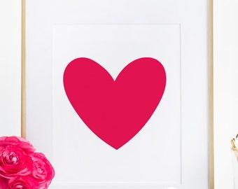 Red Heart Wall Art Love Print Girl Bedroom Poster Home Decor