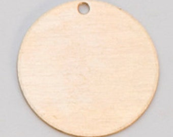 "Brass Circle With Hole 1/2"" 24ga Pkg Of 6"