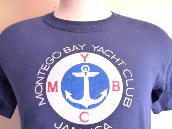 Vintage 80 39 s montego bay yacht club jamaica nautical for South bay t shirt printing