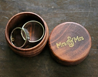 Wedding ring box, ring bearer accessory, ring warming. Tiny pine ring box with Mrs & Mrs design in gold.  Lesbian same sex wedding.