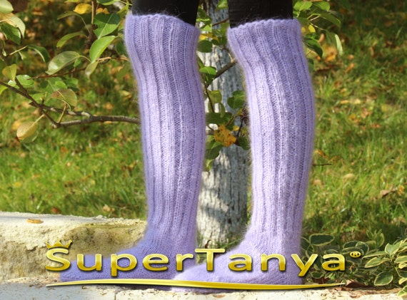 Made to order thick and fuzzy hand knit mohair socks in purple lavender by SuperTanya
