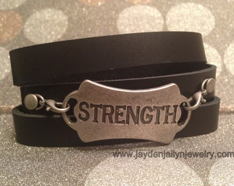 Strength Leather Bracelet Wrap
