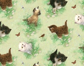 Fat Quarter Window Tails Cats Feline Green Quilting Fabric SPX 24414LTGRE1