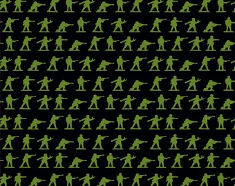 Fat Quarter Military Max Green Army Men Soldiers Quilting Fabric Riley Blake