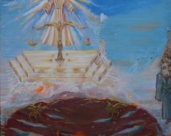 "ORIGINAL ART Lord JESUS ""Maat"" acrylic painting"