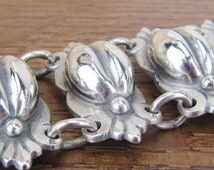 Vintage Mexican Sterling Silver coffee cocoa bean fertility big chunky bracelet jewelry heavy 925 Hecho en Mexico 108 grams!
