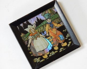 BUTTERFLY WING PICTURE - Vintage - Irridescent - Dutch Boy Girl Carrying Bucket - Children Clogs 1920's