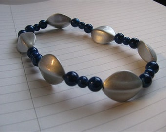 JEWELRY SALE- Ankle Bracelet- Silver and Blue- Large Beads- Chunky Anklet