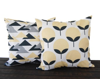 Throw pillow covers pair cushion covers saffron yellow gray charcoal pillow cases cushion modern home decor