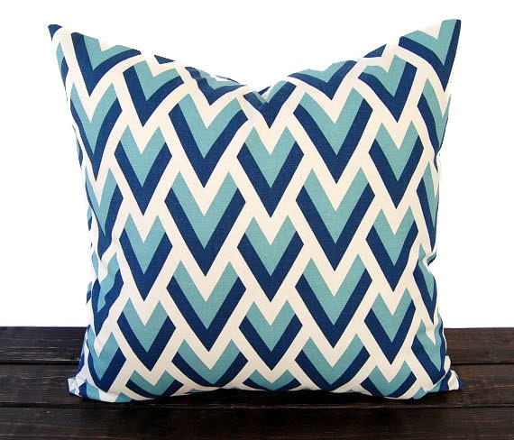 Modern Pillow Covers Etsy : Items similar to Chevron pillow cover One cushion cover blue natural throw pillow covers modern ...