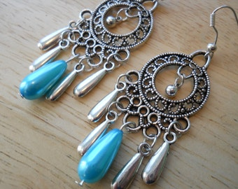 Silver Chandelier Earrings with Silver Teardrops and Pearl Teardrop Dangles Dangles