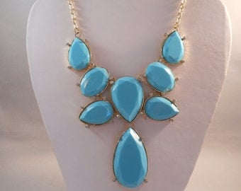 SALE Gold and Teal Blue Bib Necklace with Teardrop Pendant