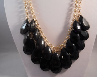 2 Row Bib Necklace made with Black Teardrop Pendant Beads on a Gold Tone Chain