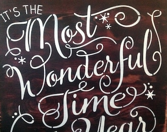 Its the most Wonderful time of the Year, Christmas, Holiday, Winter, Santa, Wood primitive signs, Snow, gifts, snowflakes, Cold outside,