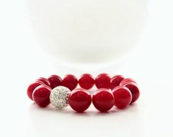 Red Jade Gemstone Silver Pave Beaded Stackable Bracelet