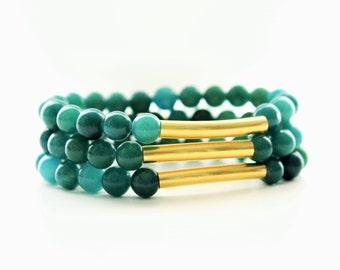 Green Jade Gemstones Gold Brass Stackable Bracelets