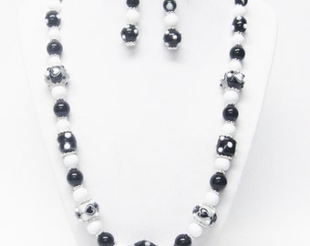 Fancy Black & White Lamp Work Glass Bead Necklace and Earrings Set