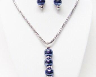 "Purple Luster Ceramic Bead Pendant Necklace & Earrings Set (21"")"