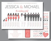 """Silhouette Wedding Program, Wedding Party- Horizontal Layout, Silhouette Front and Back Customizable, 8.5""""x5.5"""", Design 5"""