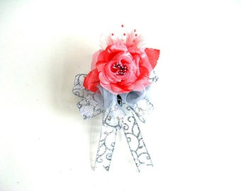 Wedding gift bow/ Bridal shower bow/ All occasion corsage/ Baby shower corsage/ Wedding corsage/ Prom corsage/Coral and gray gift bow (W124)