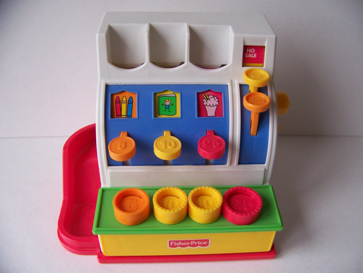 vintage fisher price cash register 1994 toy cash register. Black Bedroom Furniture Sets. Home Design Ideas