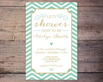 Printable Gender Neutral Baby Shower Invites, Green & Gold Baby Shower Invitations, DIY Digital File