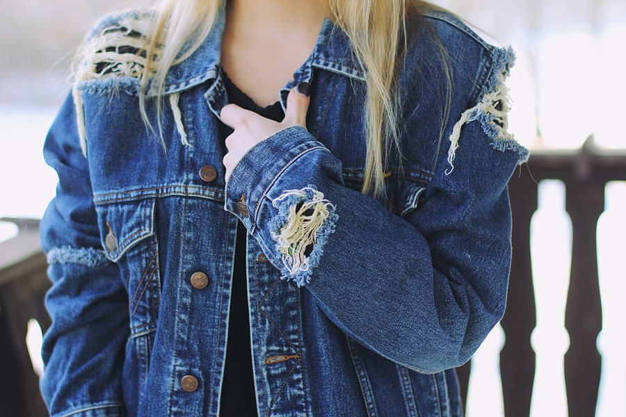 Ripped denim jacket | Etsy
