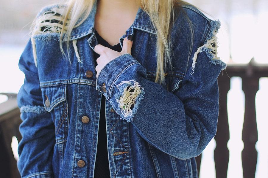 Ripped denim jacket | Etsy