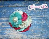 bridesmaid hair piece, fuchsia, turquoise hair clip, pink, ivory, magenta, aqua flower headband, bridal, wedding hair accessory, flower girl