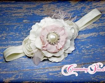 Blush, Ivory Bridesmaid Hair Clip, Pale Pink Flower Hair Bow, Flower Girl Headband, Baby Hair Accessory, Flower Brooch, Wedding Hair Piece