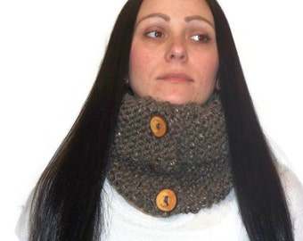 Warm Chunky Cowl, Tube Cowl, Brown