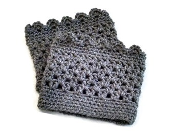 Boot Cuffs, Lacy Boot Cuffs, Grey