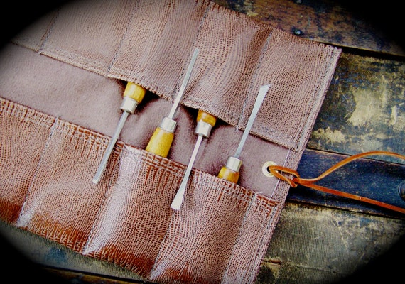 Leather Tool Roll Large Mocha Leather Tool Roll