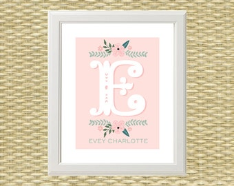 Printable Art, Nursery Art, Baby Girl, Wall Art - Monogram, Initial, Name, Customized - Storybook, Fairytale - ANY COLOR SCHEME
