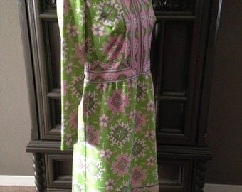 Lime Pink Paisley BOHO 70s Casual Office Day Dress