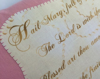 SALE: Pillow Hail Mary Prayer / 14x14~