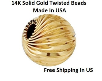 6 MM /   2 P. 14 K Gold Twisted Bright  Beads                 5106