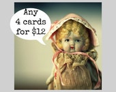Card Set Any 4 Claudia Notecards Envelopes (4) Typographic Vintage Doll Cards