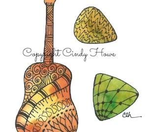 Digital art, guitar, acoustic guitar, guitar picks, Zentangle art, Zentangle guitar, musical instruments,bluegrass, B flat quote