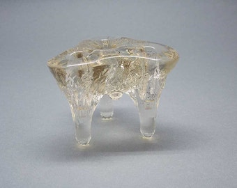 Small icicle glass triple candleholder Kosta Boda style