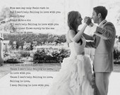 First Dance photo with words, Elvis Presley, Only fools rush in, personalized Wedding gift, bride and groom