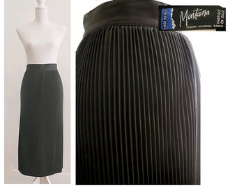 1980 CLAUDE  MONTANA   PARIS pleated long black skirt small